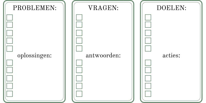 Voorbeelden van lijsten voor een zakelijk journal